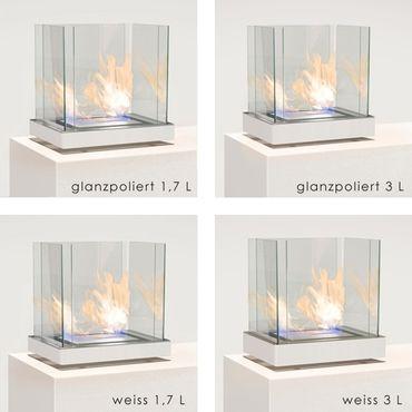 Top Flame 1,7 L weiss gebürsteter Edelstahl Ethanolkamin von Radius Design - 551 c – Bild 3