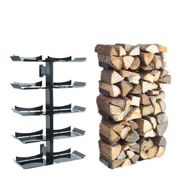 Radius Kaminholzständer Wand schwarz klein Firewood Tree - 729 a – Bild 1