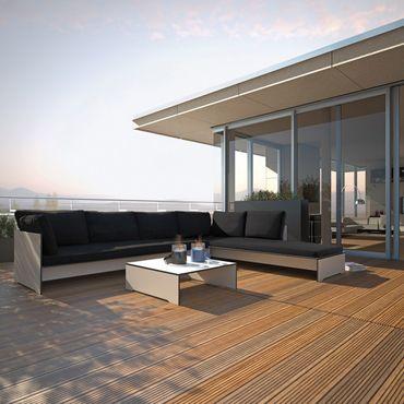 Conmoto Riva Lounge - Kombination 1 / A weiss - Sitzgarnitur - 320 cm x 240 cm mit Chaiselongue – Bild 2