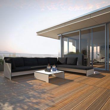 Conmoto Riva Lounge - Kombination 4 / D weiss - Sitzgarnitur - 320 cm x 200 cm mit Chaiselongue – Bild 2
