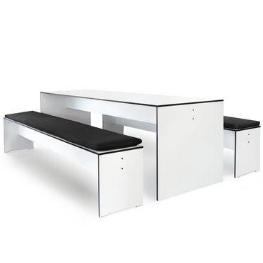 Conmoto Riva - Kombi L / 220 - weiss - Tisch und 2 Bänke - mit Auflagen – Bild 1