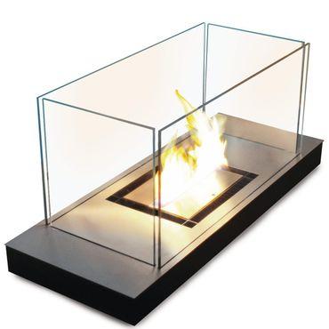 Uni Flame schwarz 3 l gebürsteter Edelstahl Ethanolkamin - 544 g
