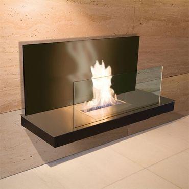 Wall Flame 2 schwarz gebürsteter Edelstahl Glas schwarz Ethanolkamin - 540 b – Bild 1