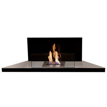 Corner Flame gebürsteter Edelstahl Glas schwarz Eckkamin für Ethanol - 542 b