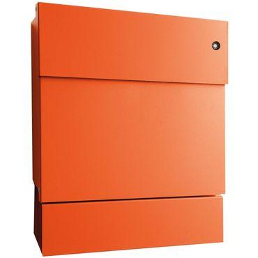 Radius Briefkasten Letterman 5 orange mit LED-Klingel rot + Zeitungsrolle 561 A-KR
