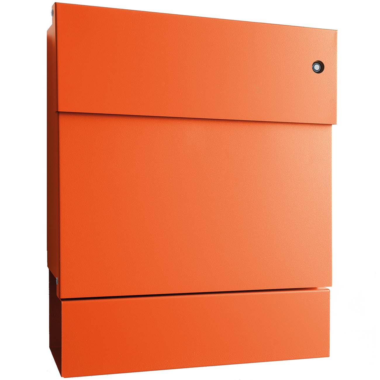 briefkasten letterman 5 orange radius design mit klingel blau und zeitungsrolle ebay. Black Bedroom Furniture Sets. Home Design Ideas