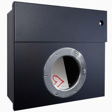 Radius Briefkasten Letterman 1 schwarz mit LED-Klingel rot 506 F-KR