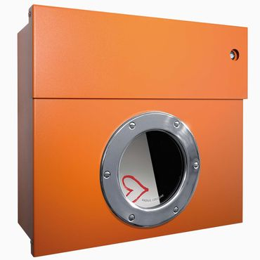 Radius Briefkasten Letterman 1 orange mit LED-Klingel blau 506 A-KB