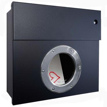 Radius Briefkasten Letterman 1 schwarz mit LED-Klingel blau 506 F-KB – Bild 1