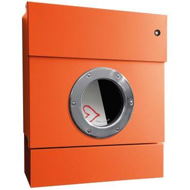 Radius Briefkasten Letterman 2 orange mit LED-Klingel rot und Zeitungsrolle 505 A-KR