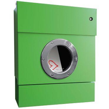 Radius Briefkasten Letterman 2 grün mit LED-Klingel rot und Zeitungsrolle 505 B-KR