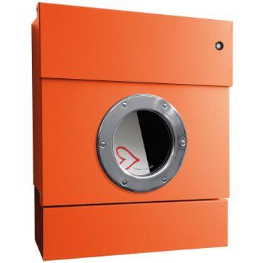 Radius Briefkasten Letterman 2 orange mit LED-Klingel blau und Zeitungsrolle 505 A-KB