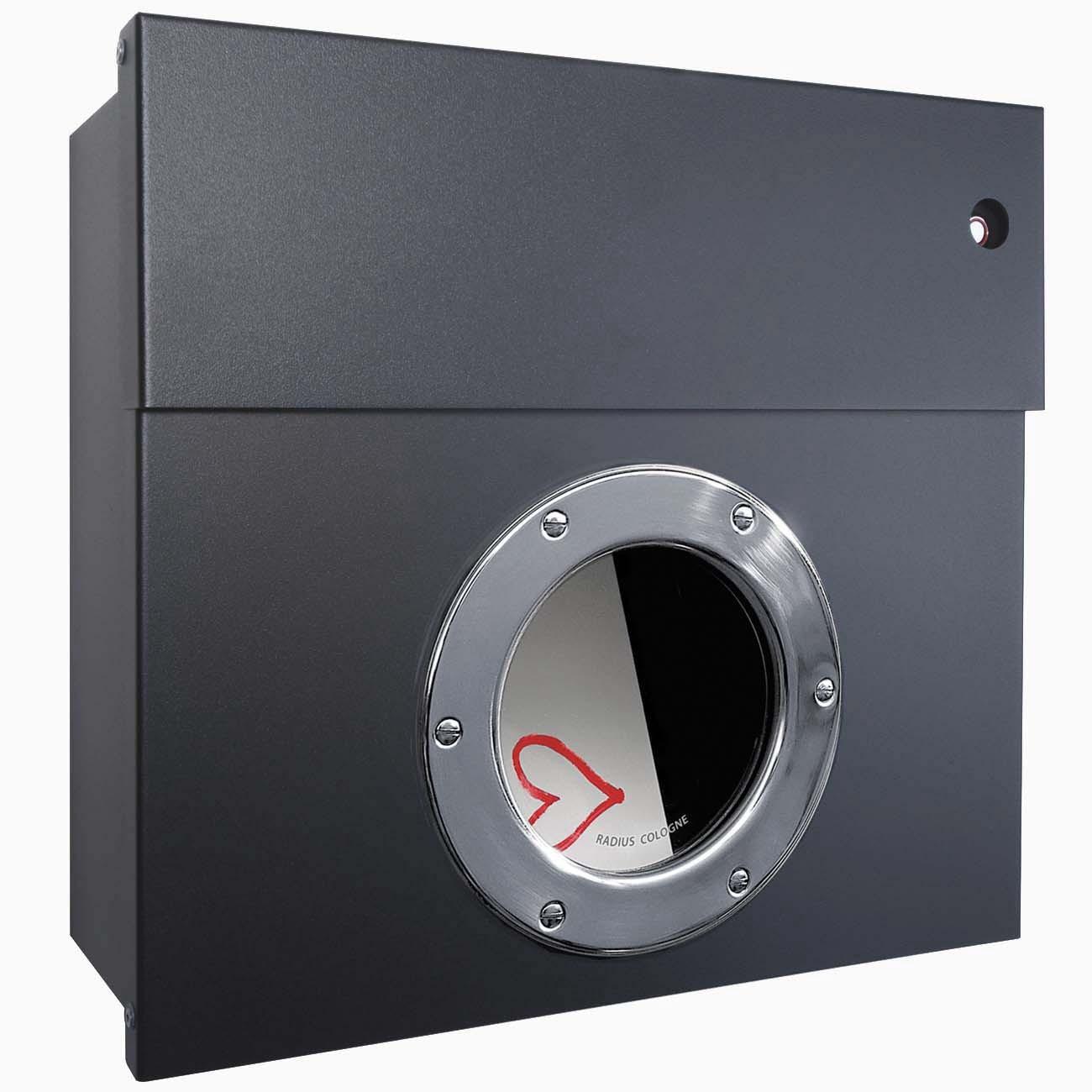 briefkasten letterman 1 anthrazitgrau ral 7016 mit bullauge klingel rot radius ebay. Black Bedroom Furniture Sets. Home Design Ideas