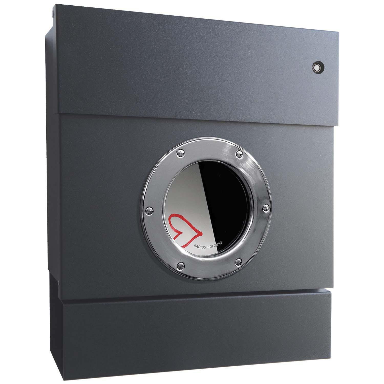 radius briefkasten letterman 2 anthrazitgrau ral 7016 mit led klingel rot und zeitungsrolle. Black Bedroom Furniture Sets. Home Design Ideas