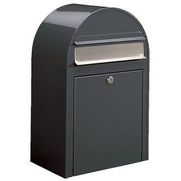 Bobi Classic Briefkasten RAL 7016 grau, Klappe aus Edelstahl Wandbriefkasten – Bild 1