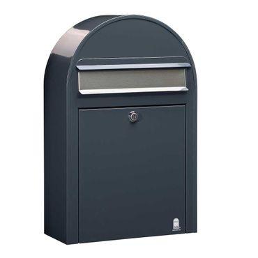 Bobi Classic S Briefkasten RAL 7016 grau Klappe aus Edelstahl Wandbriefkasten