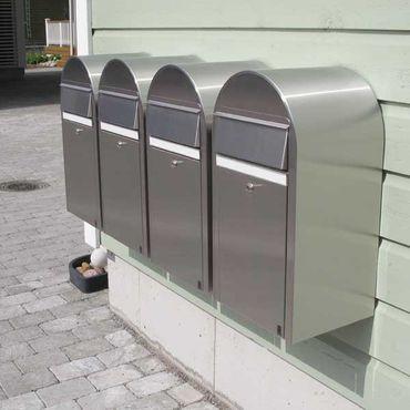 Bobi Grande Briefkasten RAL 5003 blau, Klappe aus Edelstahl Wandbriefkasten – Bild 4