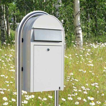 Bobi Grande Briefkasten RAL 5003 blau, Klappe aus Edelstahl Wandbriefkasten – Bild 5