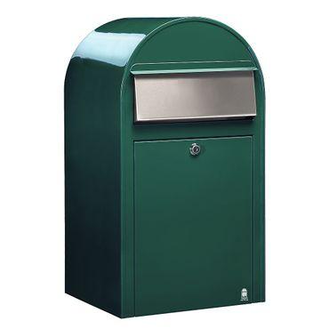 Bobi Grande Briefkasten RAL 6005 grün, Klappe aus Edelstahl Wandbriefkasten