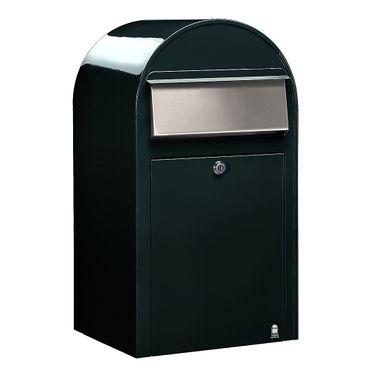 Bobi Grande Briefkasten COL 6064 schwarzgrün, Klappe aus Edelstahl Wandbriefkasten