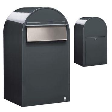 Bobi Grande B Briefkasten RAL 7016 grau, Klappe aus Edelstahl Zaunbriefkasten – Bild 1