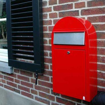 Bobi Grande S Briefkasten RAL 3005 bordeauxrot, Klappe aus Edelstahl Wandbriefkasten – Bild 3