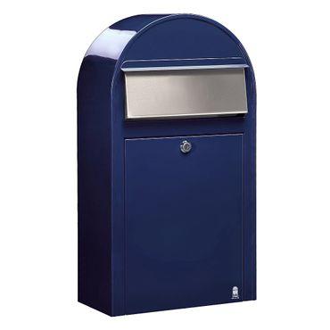 Bobi Grande S Briefkasten RAL 5003 blau, Klappe aus Edelstahl Wandbriefkasten