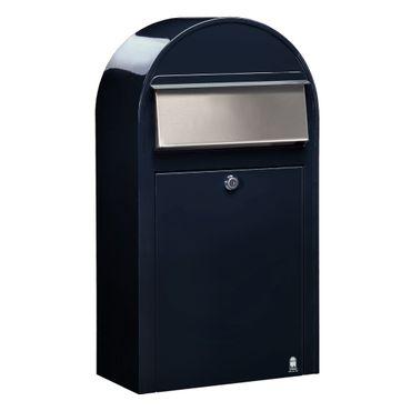Bobi Grande S Briefkasten RAL 5004 schwarzblau, Klappe aus Edelstahl Wandbriefkasten