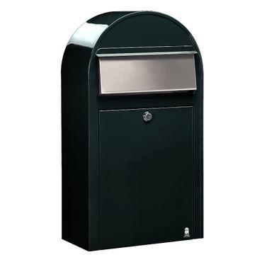 Bobi Grande S Briefkasten COL 6064 schwarzgrün, Klappe aus Edelstahl Wandbriefkasten