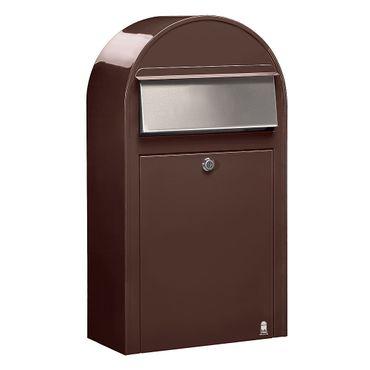 Bobi Grande S Briefkasten RAL 8017 braun, Klappe aus Edelstahl Wandbriefkasten