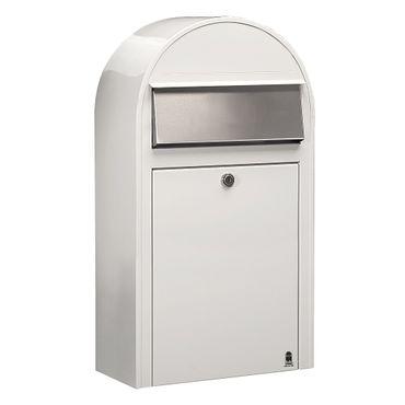 Bobi Grande S Briefkasten RAL 9016 weiß, Klappe aus Edelstahl Wandbriefkasten