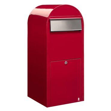 Bobi Jumbo Briefkasten RAL 3001 rot, Klappe aus Edelstahl Wandbriefkasten – Bild 1