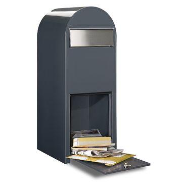 Bobi Jumbo Briefkasten RAL 3005 bordeauxrot, Klappe aus Edelstahl Wandbriefkasten – Bild 2