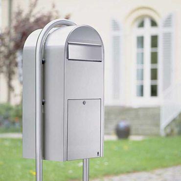Bobi Jumbo Briefkasten RAL 3005 bordeauxrot, Klappe aus Edelstahl Wandbriefkasten – Bild 3