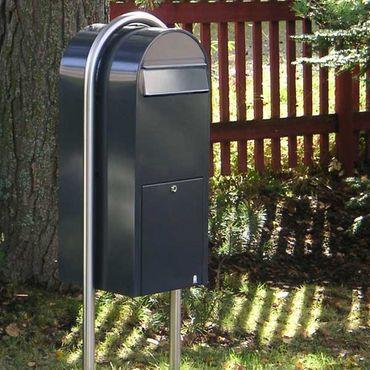 Bobi Jumbo Briefkasten RAL 5003 blau, Klappe aus Edelstahl Wandbriefkasten – Bild 5