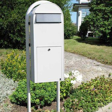 Bobi Jumbo Briefkasten RAL 9016 weiß, Klappe aus Edelstahl Wandbriefkasten – Bild 4
