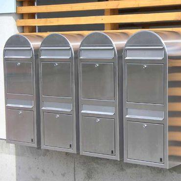 Bobi Duo Briefkasten RAL 7016 grau, Klappe aus Edelstahl Wandbriefkasten – Bild 2