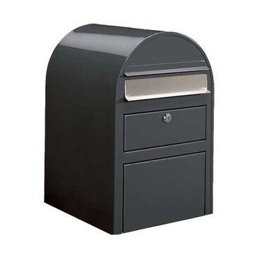 Bobi Swiss Briefkasten mit Paketfach RAL 7016 grau, Klappe aus Edelstahl Wandbriefkasten – Bild 1