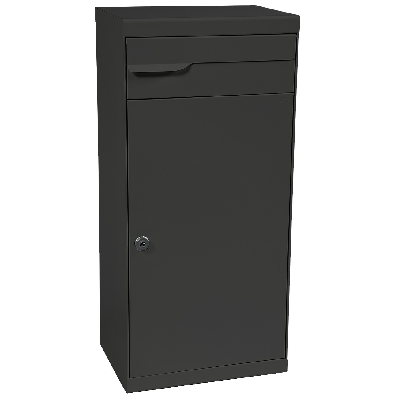 mefa paketpostkasten fuego 992 briefkasten entnahme hinten anthrazitgrau semimatt ral 7016. Black Bedroom Furniture Sets. Home Design Ideas
