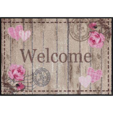 Salonloewe Fußmatte waschbar Cottage Chic Welcome Roses 50x75 cm SLD1104-050x075 – Bild 1