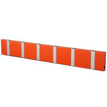 Knax Loca - Garderobe - Garderobenleiste mit 6 Haken - Hot Orange - Haken in grau