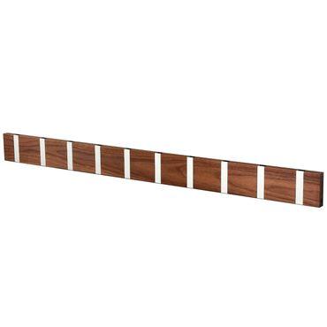 Knax Loca - Garderobe - Garderobenleiste mit 10 Haken - Walnuss (geölt) - Haken in grau