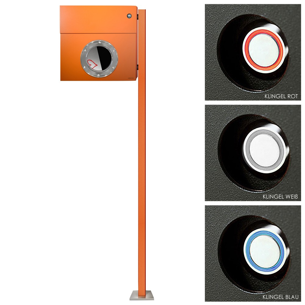 radius standbriefkasten letterman 1 orange mit led klingel und pfosten inkl t rklingelschalter. Black Bedroom Furniture Sets. Home Design Ideas