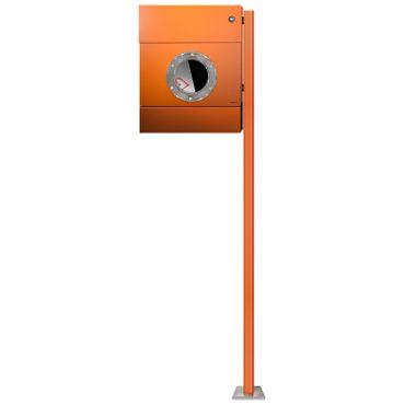 Radius Standbriefkasten Letterman 2 orange Zeitungsrolle mit LED-Klingel blau mit Pfosten - 564 A KB – Bild 1
