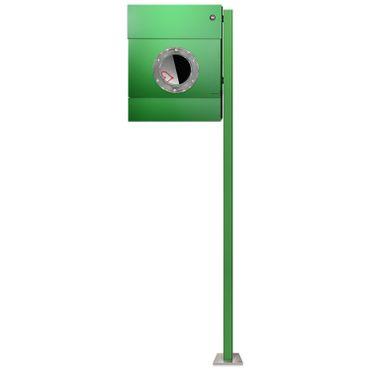 Radius Standbriefkasten Letterman 2 grün Zeitungsrolle mit LED-Klingel rot mit Pfosten - 564 B KR – Bild 1