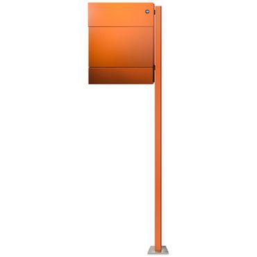 Radius Standbriefkasten Letterman 5 orange mit Zeitungsrolle, LED-Klingel blau und Pfosten - 566 A KB