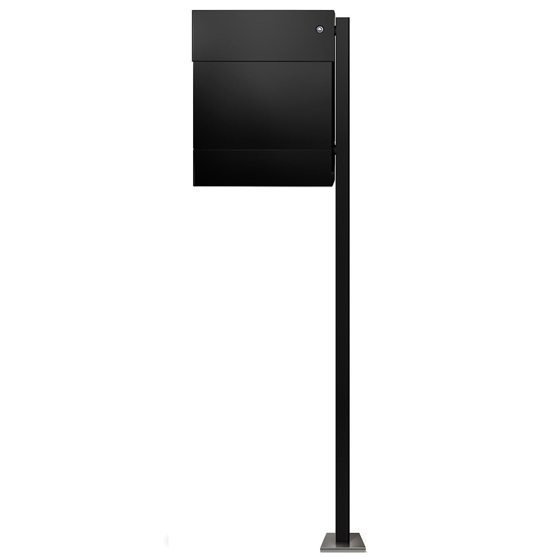 radius standbriefkasten letterman 5 schwarz mit zeitungsrolle led klingel blau und pfosten. Black Bedroom Furniture Sets. Home Design Ideas
