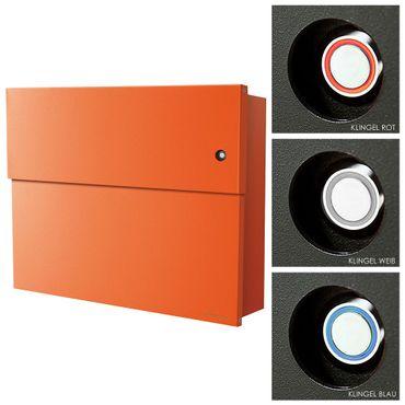 Radius Briefkasten Letterman XXL 2 orange mit LED-Klingel und verdecktem Zeitungsfach (inkl. Türklingelschalter) - 562 A K