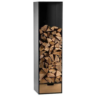 Conmoto Brennholzregal Covo HPL schwarz Eiche Covo mit Schubkasten Kaminholzstapler