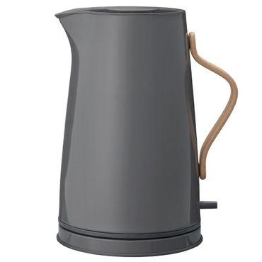 Stelton Emma Wasserkocher 1,2 Liter grau mit Buchenholzgriff